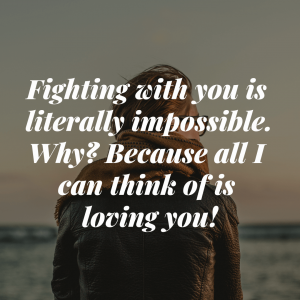 Fighting with you is literally impossible. Why? Because all I can think of is loving you!